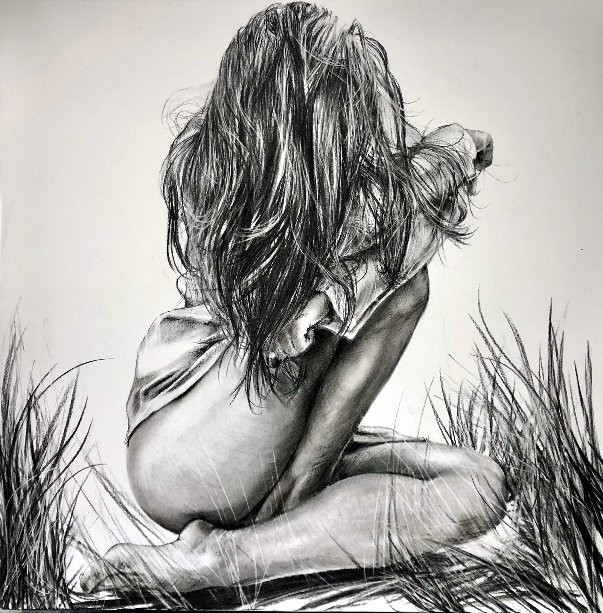 Le secret 80 x80 cm Fusain sur toile marouflée