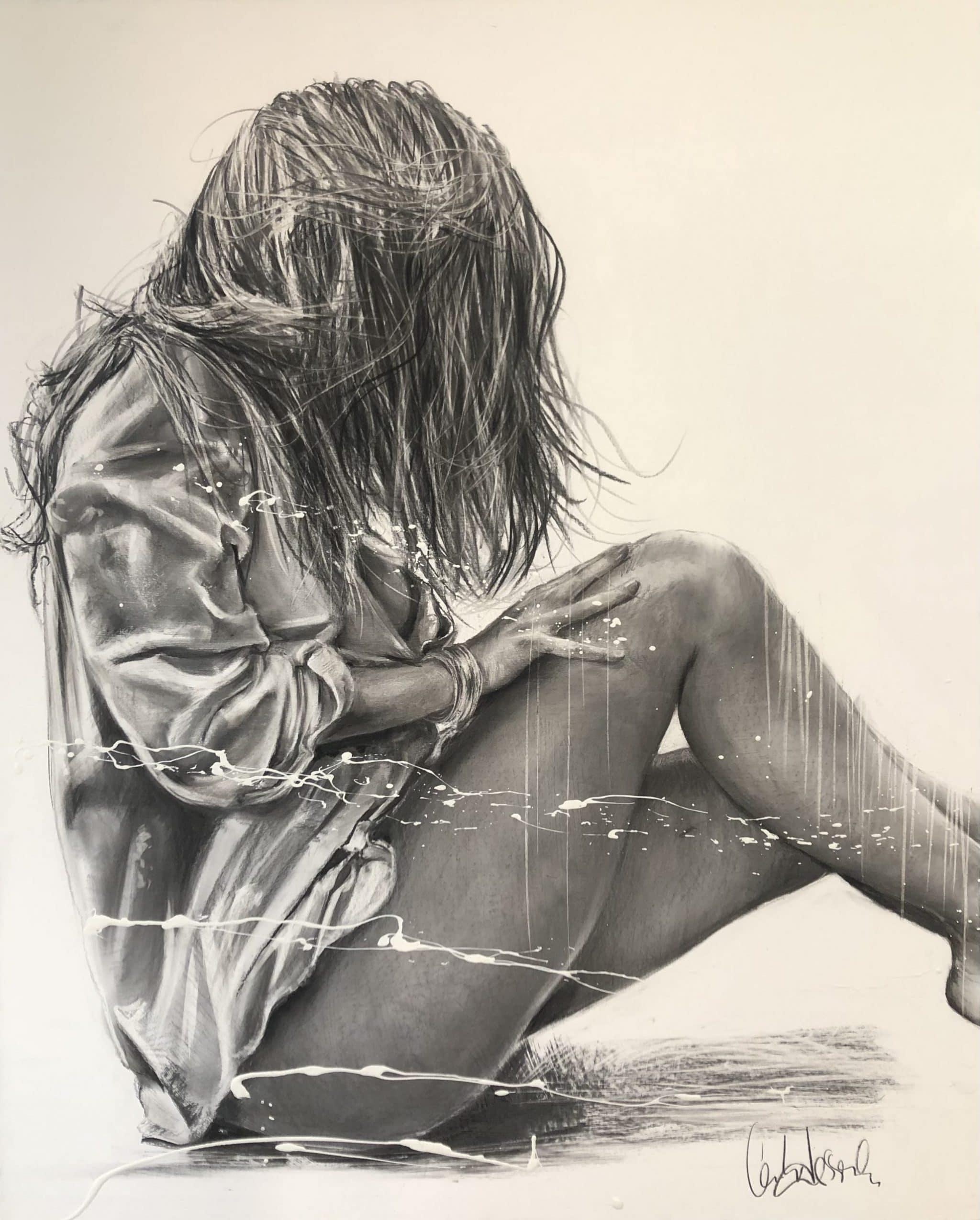 toile Ma raison intime Fusain et acrylique sur toile Marouflée