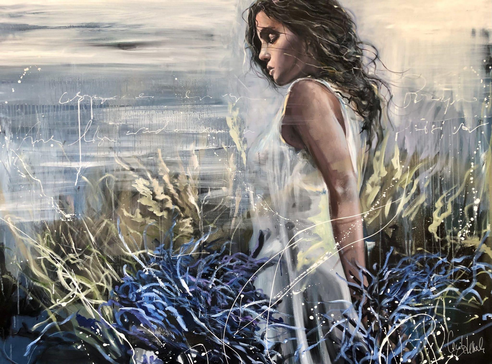 En eau douce Huile sur toile de Cécile Desserle