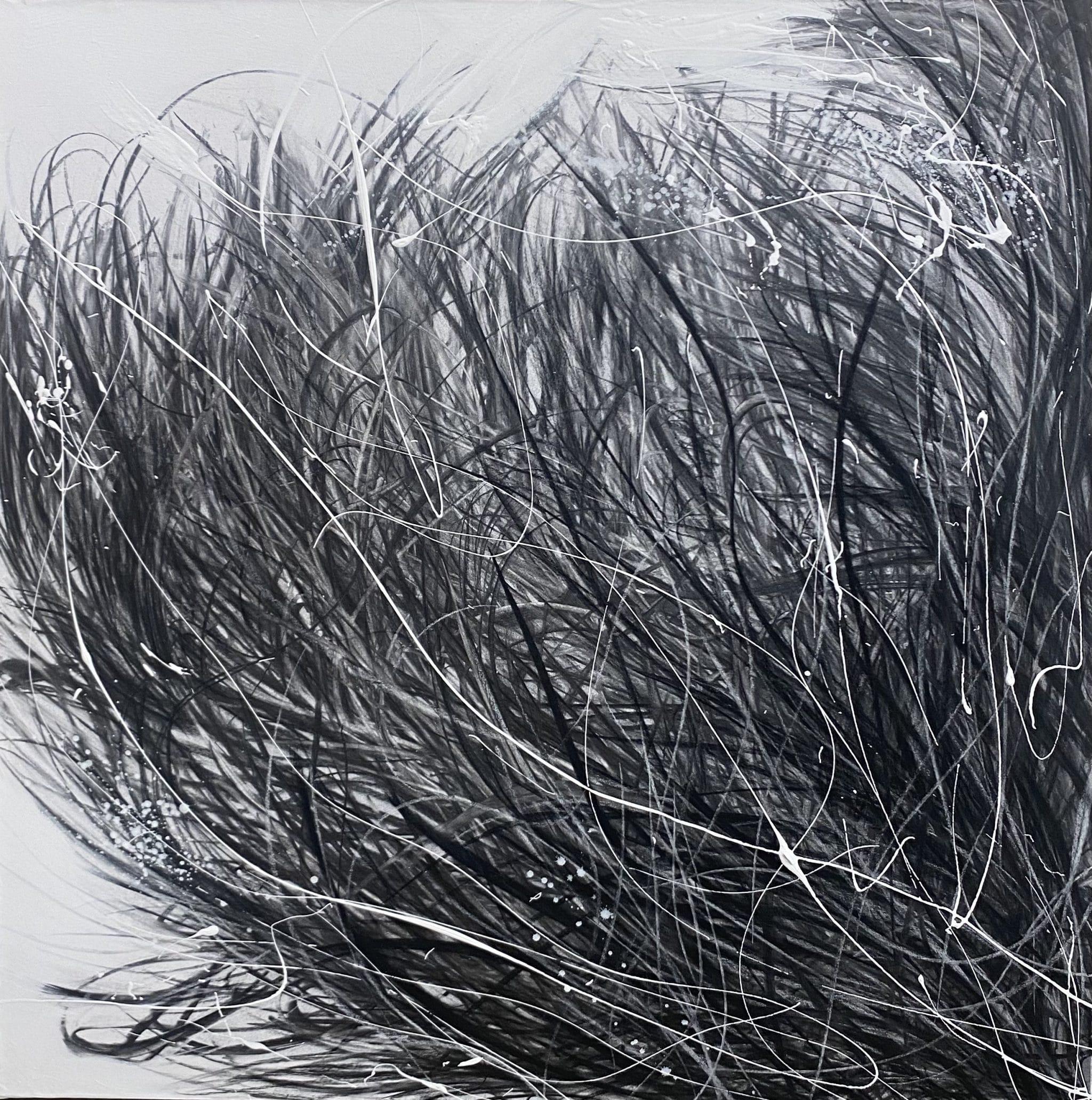 Anstrait n°1- 80 x 80 fusain sur toile marouflée de Cécile Desserle