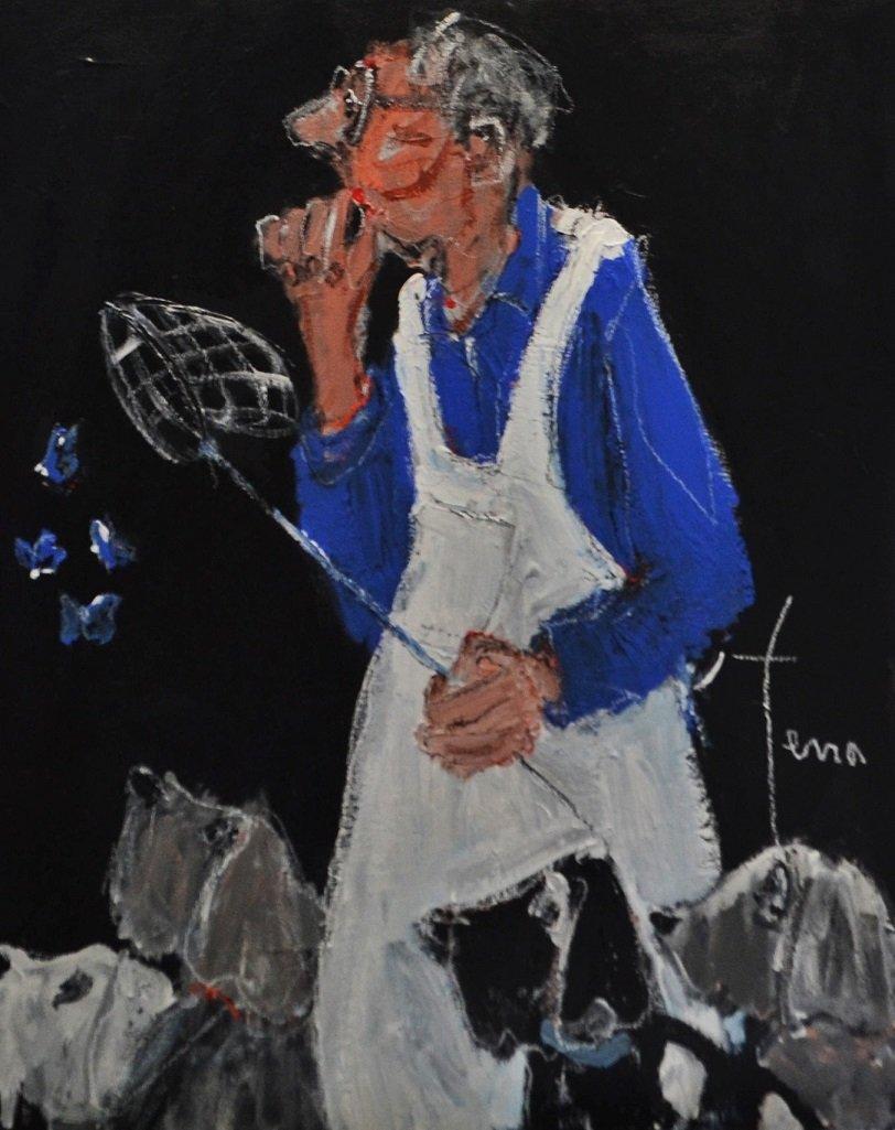 La chasse aux papillons bleus, 81 x 65 cm
