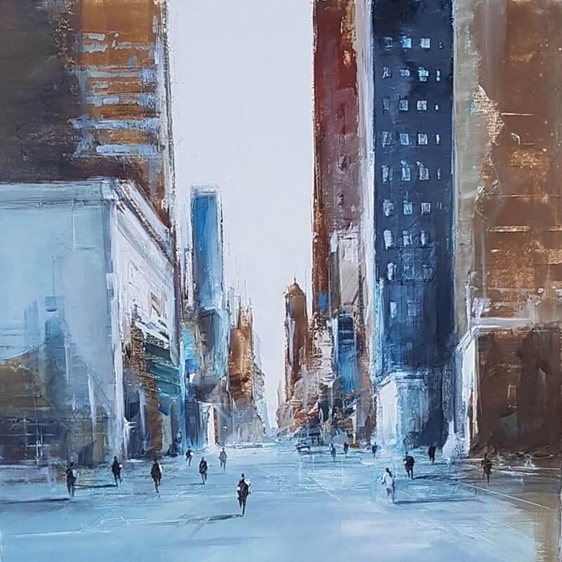 Blue abstraction 50x50 Mixte sur toile